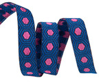 """Tiny Pink Tortoise dots on Dark Blue 3/8"""" by the yard"""