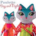 Paulette Day/night Cat Velvet Sewing Project Kit
