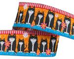 """7/8"""" Black cats on orange"""
