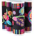 """Fleury-Floral Design on Black 5"""" wide - Printed Velvet Borde"""