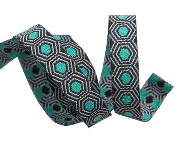 "Tiny Mint Tortoise dots on Black 3/8"" by the yard picture"