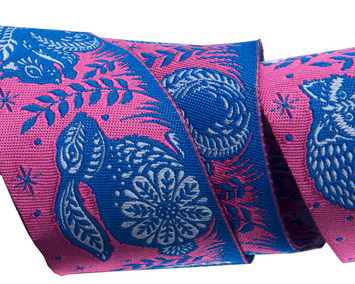 "Animal Grandstand pink and blue 1 1/2"" by the yard picture"