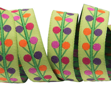 "5/8""-Multi Dots on lime - Sue Spargo picture"