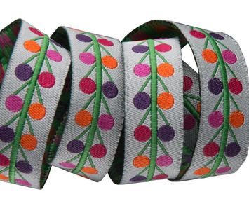 """5/8""""-Multi Dots on grey- Sue Spargo picture"""