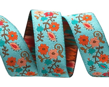 "5/8""-Orange on Turquoise Mini Suzani Floral - LFNT picture"