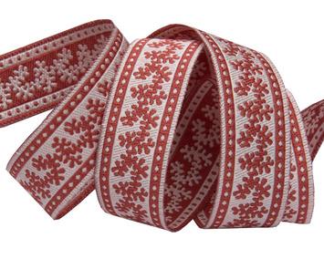 """5/8 """"-Mini Twigs brick red & ecru- French General picture"""
