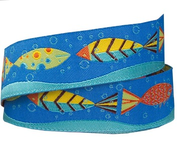 "7/8""-Multi Colored Fish in Blue Sea and Wave picture"