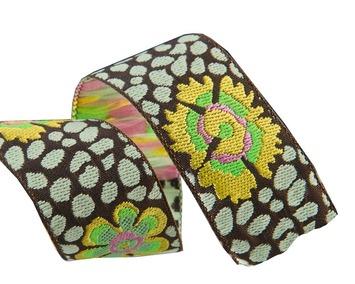 "7/8""-Guinea Flower on Green/Brown - Kaffe Fassett picture"