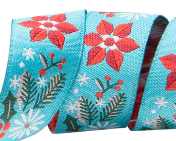 "7/8""- Poinsettia on turquoise by Jessica Jones picture"