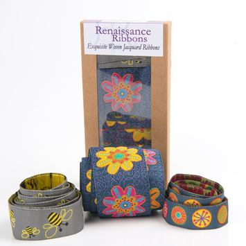 Ribbon Box Denim Flowers & Bees picture