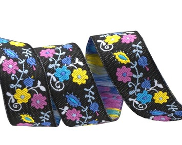 "5/8""-Purple on black Mini Suzani Floral - LFNT picture"