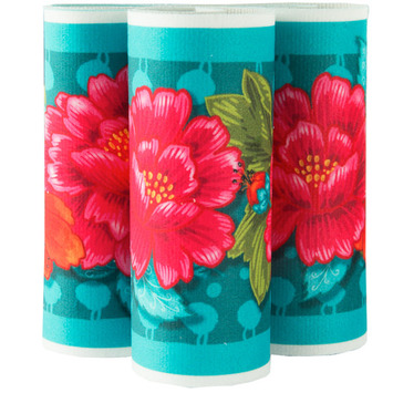 "Red Peonies onTurquoise 5"" wide - Printed Velvet Border- picture"