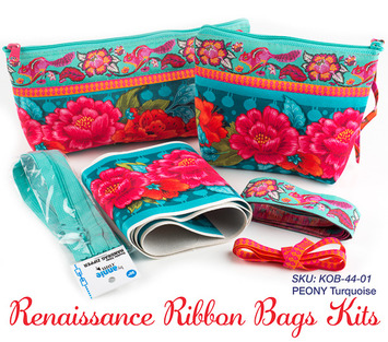 Kit RR bag-Peonies on turquoise- makes 2 bags picture