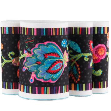 """Fleury -Floral Design on Black 2 3/4"""" wide - Printed Velvet Border picture"""