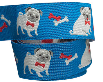 """7/8"""" Fawn pug on  blue by Jessica Jones picture"""