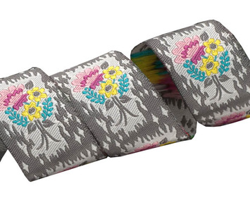"7/8"" HandPicked Floral on Grey picture"