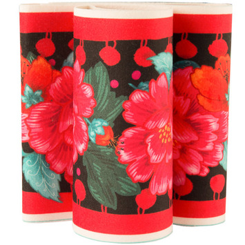 "Red Peonies on Black 5"" wide - Printed Velvet Border picture"