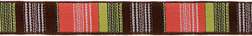 "5/8""- Brown/Coral/Pistachio Vertical Stripes picture"