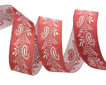 """5/8 """"-Mini Paisley on brick red- French General picture"""