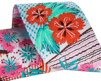 """1-1/2"""" Pink & Teal Floral Collage 1 1/2"""" - Splendor by Amy Butler picture"""