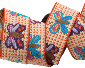 "7/8""-Butterflies on orange & cream background- Sue Spargo picture"