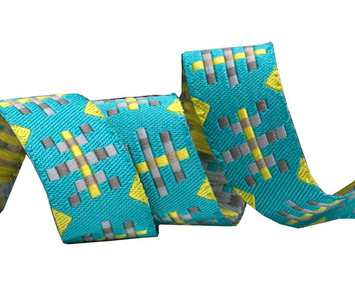 """5/8"""" Turquoise/Lime Misguided Gingham picture"""