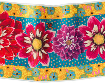 "Wide Dahlias on Turquoise 6.5"" wide picture"