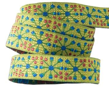 """5/8""""-Blue Flower Wheel on Green - Sue Spargo picture"""