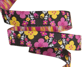 """3/8""""-Tiny Pink Spring Floral on Black- Jessica Jones picture"""