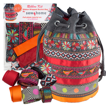 Ribbon Kit Sew4Home Red Bucket bag picture