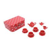 Red Polka Dot Porcelain Tea Set