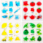 Colours Set 1 Pegged Puzzles (Set of 4)