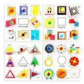 Shapes Set 1 Pegged Puzzles (Set of 4)