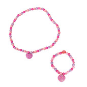 Heart Bracelet and Necklace (Dark Pink Bead)