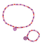 Heart Bracelet and Necklace (Purple Bead)