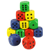 Giant Dice Coloured (Pack of 12)