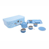 Blue Polka Dot Tin Tea Set