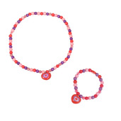 Heart Bracelet and Necklace (Red Bead)