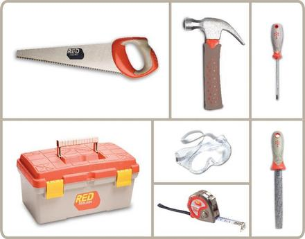 Red Toolbox Toolbox and 6 Piece Toolset picture