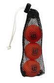 KNEE HOCKEY BALL 50MM 30G PVC ORANGE 3-PACK (w/ MESH BAG)