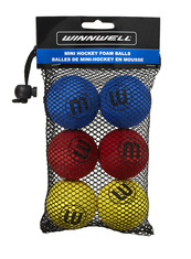 KNEE HOCKEY BALL 50MM 5G EVA MULTICOLOUR 6-PACK (w/ MESH BAG)