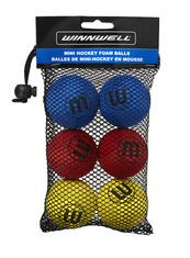 KNEE HOCKEY BALL 50MM 5G EVA MULTICOLOUR 6-PACK (w/ MESH BAG)