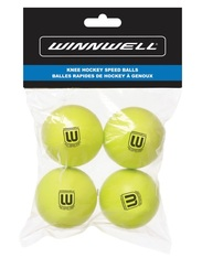 KNEE HOCKEY BALL 50MM PU YELLOW 4-PACK (w/ POLY BAG)