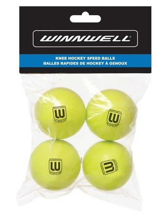 KNEE HOCKEY BALL 50MM PU YELLOW 4-PACK (w/ POLY BAG) picture