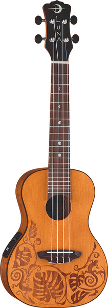 Uke Solid Cedar top concert w/ lizard picture