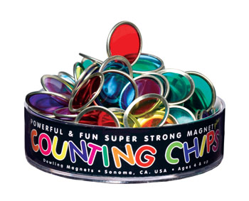 75 Metal-Rimmed Counting Chips & 1 Block Magnet