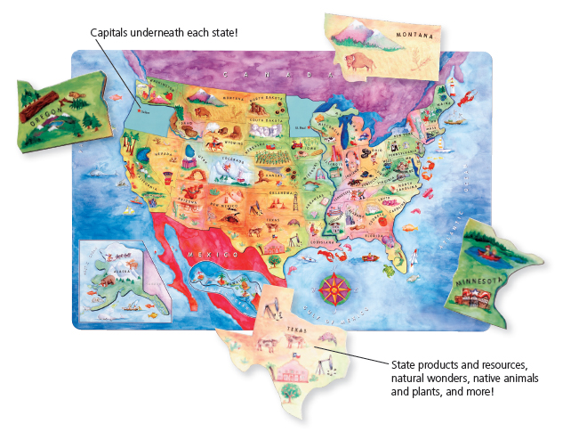 Magnetic USA Map Puzzle | Dowling Magnets