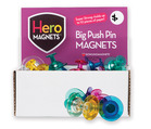 Hero Magnets: Big Push Pin Magnets, Set of 30