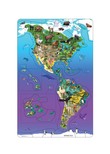 Magnetic Wildlife Map Puzzle: North & South America picture
