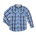 XL  - Blue Plaid - Poplin Hombre Plaid Long Sleeve